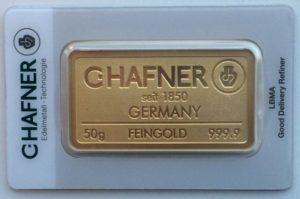lingot Hafner 50 grammes or